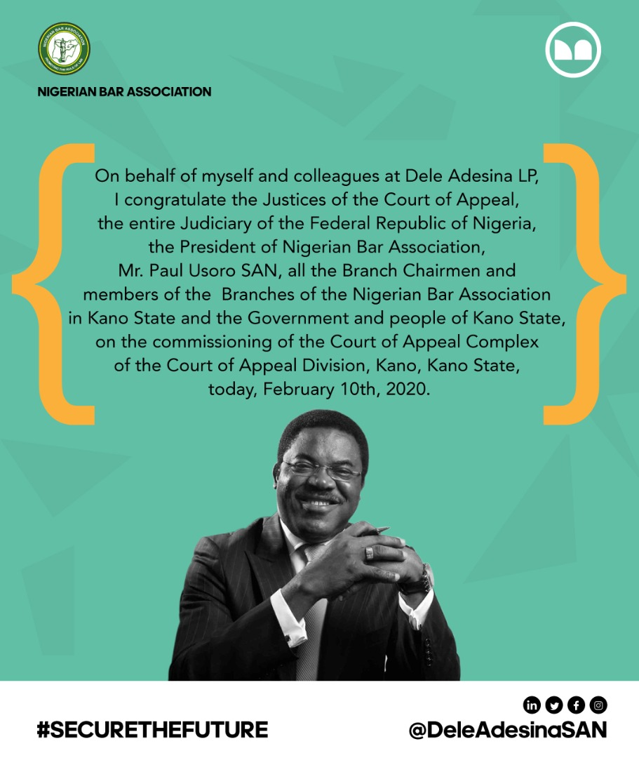 Happening Now:Dele Adesina, SAN at the commissioning of the Court of Appeal Complex of the Court of Appeal, Kano Division, Kano State