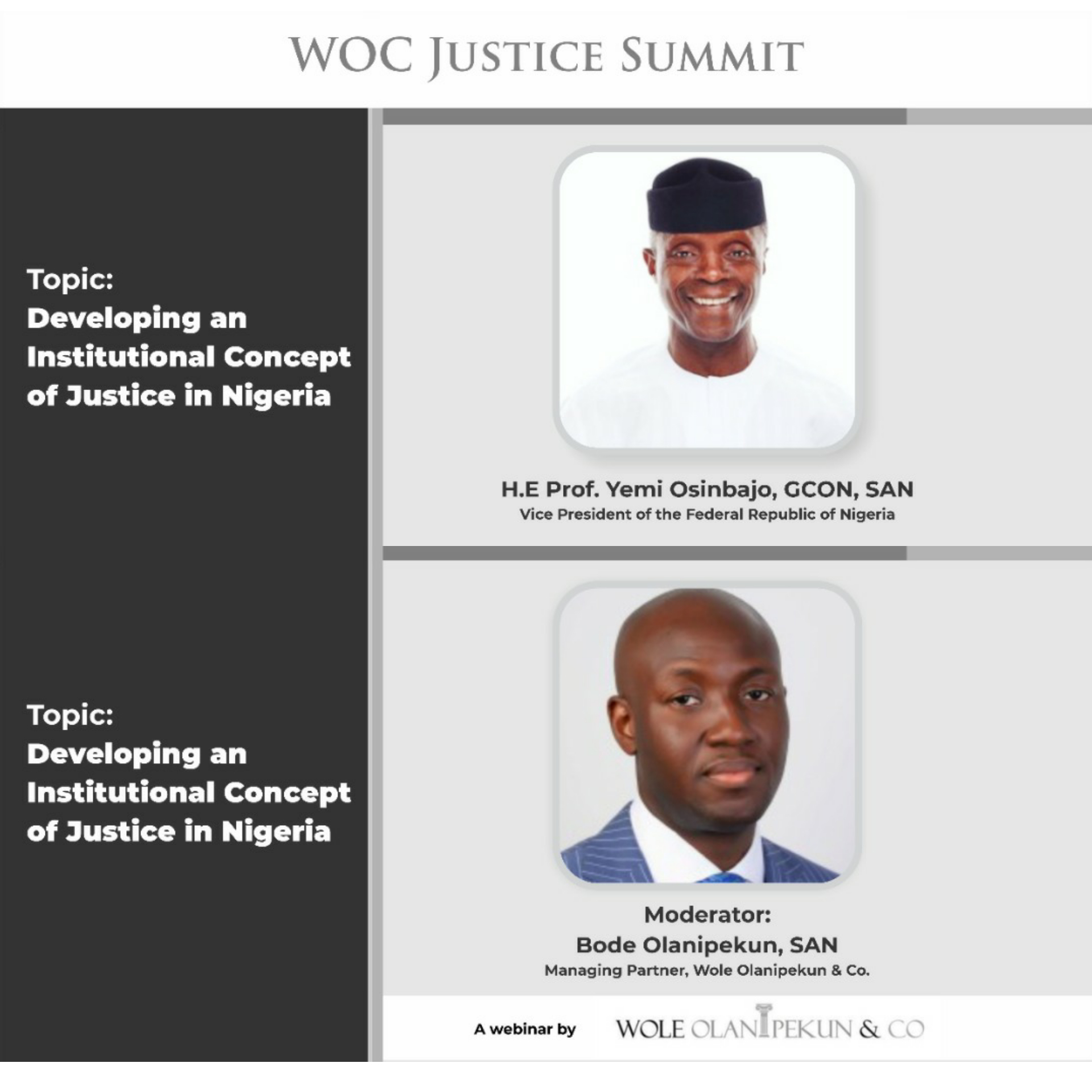 A Call For Judicial Reforms: Wole Olanipekun & Co Holds WOCJusticeSummit on 22nd August, 2020