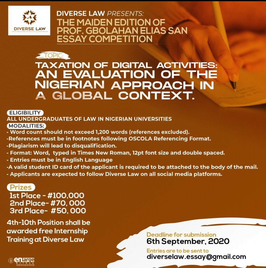 Diverse Law presents the MAIDEN ESSAY COMPETITION OF PROF. GBOLAHAN ELIAS SAN.