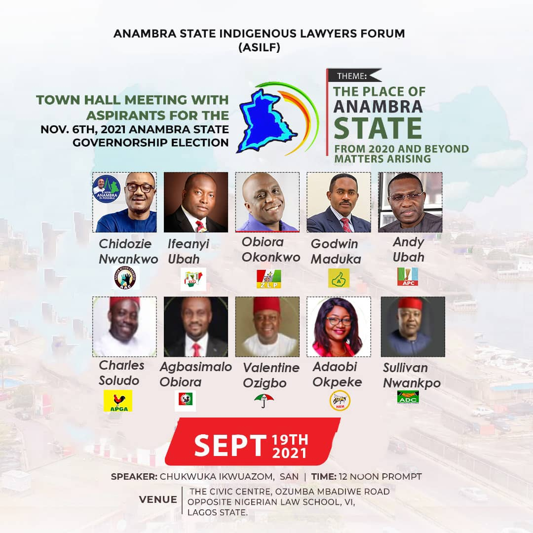 TOWNHALL MEETING WITH PARTY CANDIDATES FOR THE UPCOMING ANAMBRA STATE GUBERNATORIAL ELECTION: INVITATION TO PARTICIPATE